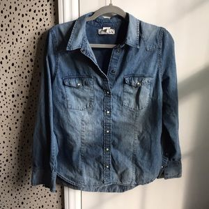 HM l.o.g.g denim shirt women's button down